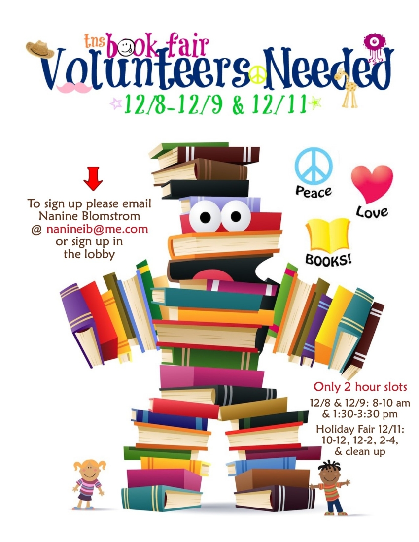 Book Fair Volunteers wanted