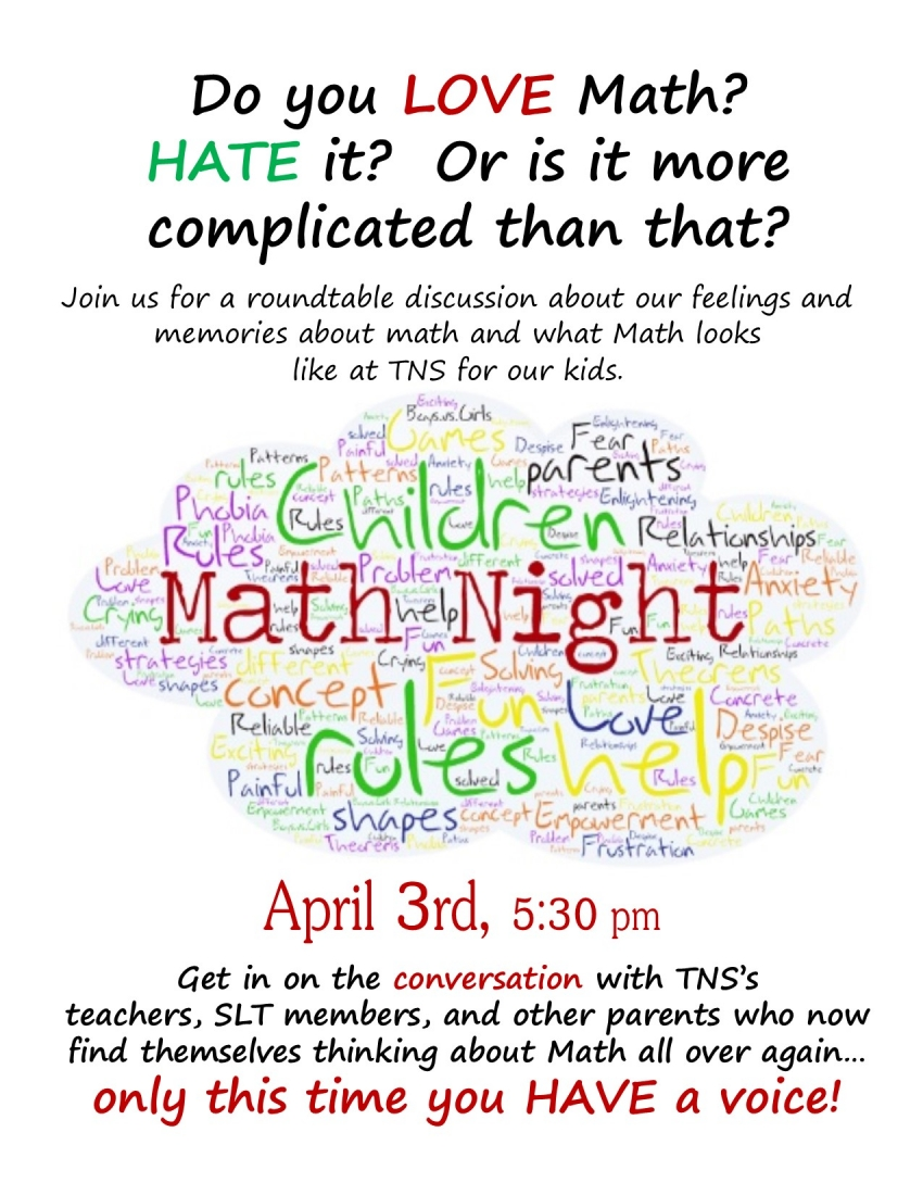Join Us For Math Night on Monday, April 3 from 5:30 - 7 PM!