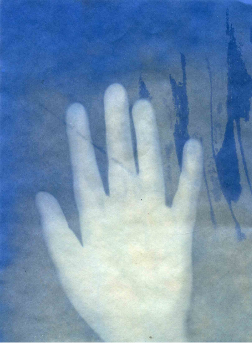 Art Walk image - painting of a hand against a blue background