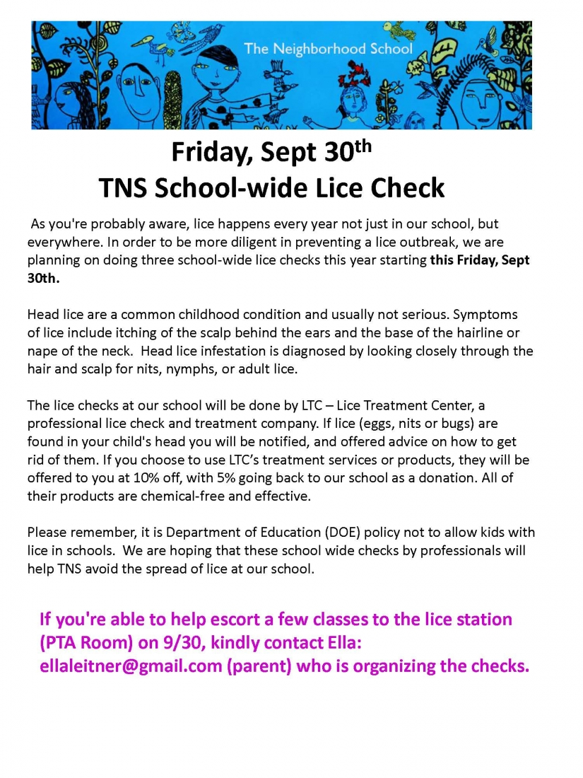 TNS Lice Checks - Friday, Sept 30th